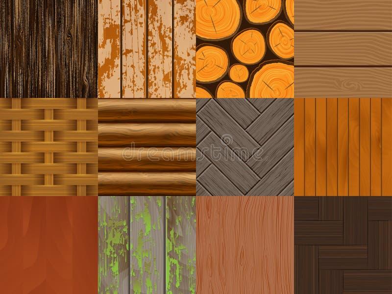 Texture en bois de fond de modèle sans couture en bois de vecteur et illustration réglée de contexte texturisé matériel naturel d illustration libre de droits