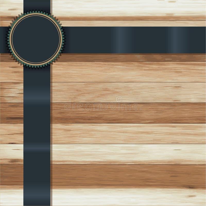 Texture en bois de vecteur avec des insignes de bannière de ruban illustration stock