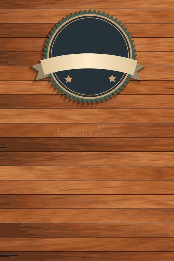 Texture en bois de vecteur avec des insignes de vintage illustration stock