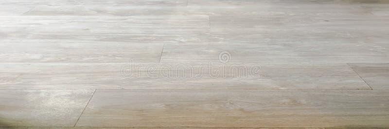 Texture en bois douce légère de surface de plancher comme fond, parquet en bois verni Le vieux grunge a lavé la vue supérieure de photo stock