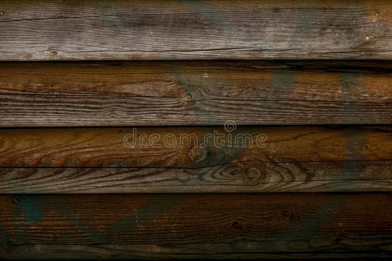 Texture en bois minable de rondins Vieille barrière en bois, surface de grange Mur grunge de chêne superficiel par les agents par photographie stock libre de droits