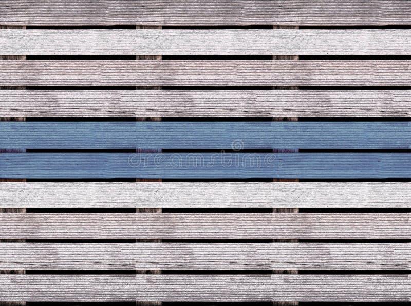 Texture en bois sans couture du plancher ou du trottoir, palette en bois avec la ligne bleue image libre de droits
