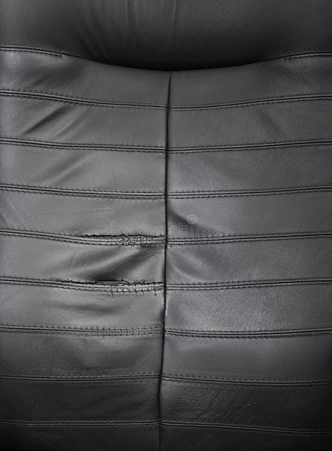 Texture en cuir déchirée par noir images stock