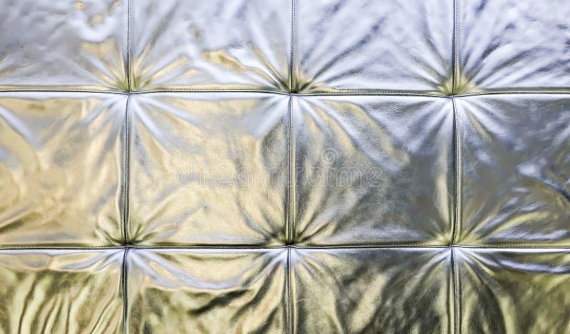 Texture en cuir grise brillante saturée élégante de chaise de sofa photo stock