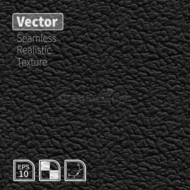 Texture en cuir réaliste sans couture de vecteur noir illustration libre de droits