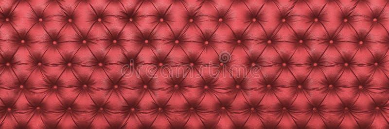texture en cuir rouge foncé élégante horizontale avec des boutons pour le tapotement image stock