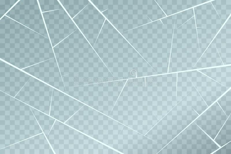 Texture extérieure de glace avec des fissures et des éraflures D'isolement sur le fond transparent Vecteur illustration de vecteur
