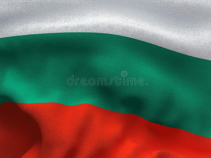 Texture of a fabric with the image of the flag of Bulgaria, waving in the wind. stock photo