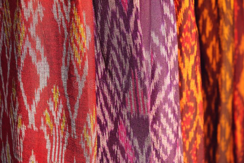 Texture of fabric pattern background, native thai style royalty free stock photography