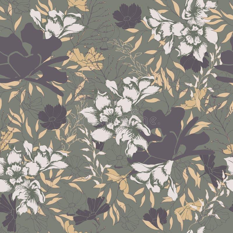 Texture florale pour le tissu Ornement sans couture des fleurs et des feuilles sur un fond brun Texture de cru pour la décoration photographie stock