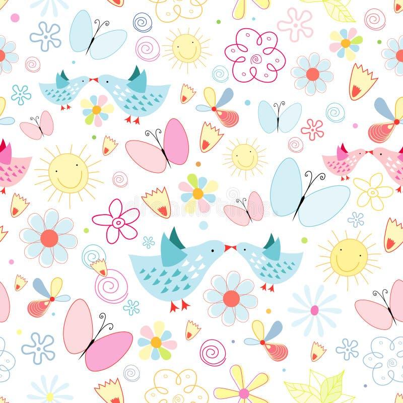 Download Texture Of Flowers Butterflies And Birds Stock Vector - Image: 19873109