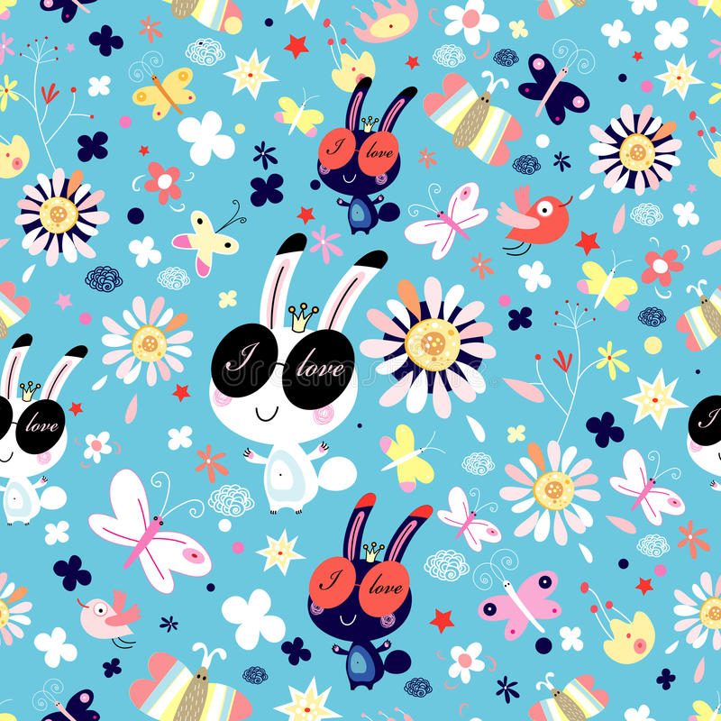 Download Texture Of Flowers And Funny Bunnies Stock Vector - Illustration: 20045404