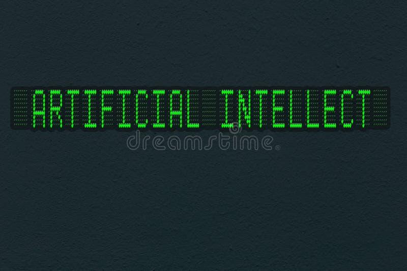 Texture foncée de mur avec le panneau de LED avec l'intellect artificiel d'inscription illustration libre de droits