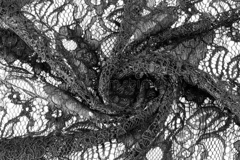 Texture, fond, modèle Tissu de dentelle noire Fond o images stock