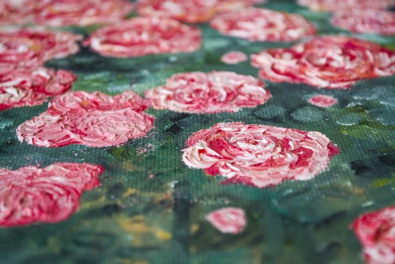 Texture Fond Une toile avec des limandes des peintures beurrées Couleurs rouges, blanches et vertes Art décor photographie stock libre de droits