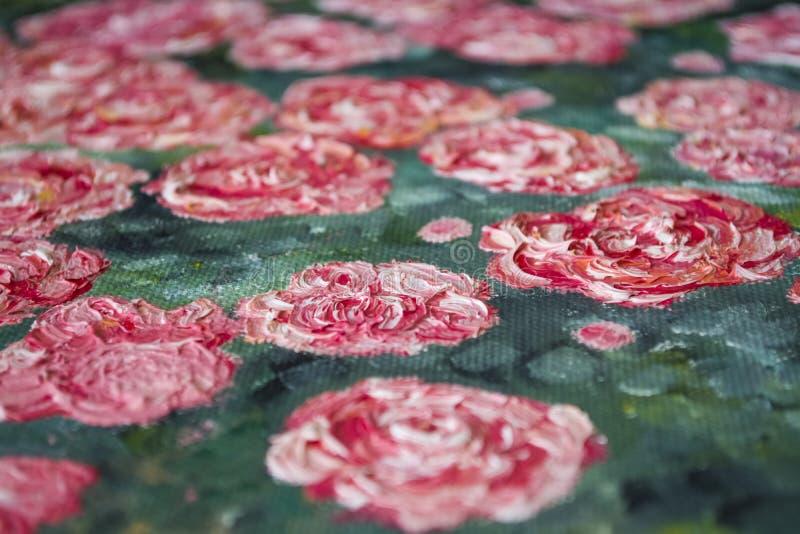 Texture Fond Une toile avec des limandes des peintures beurrées Couleurs rouges, blanches et vertes Art décor photo stock