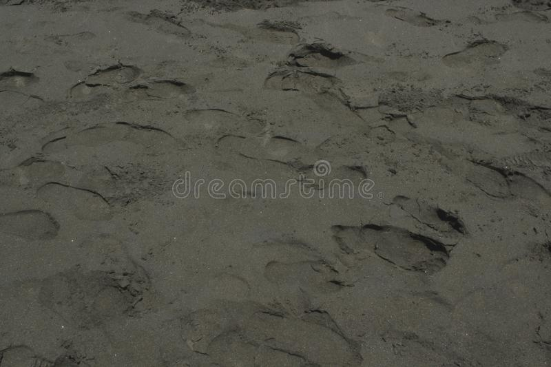 Texture of footsteps on the sand royalty free stock photo
