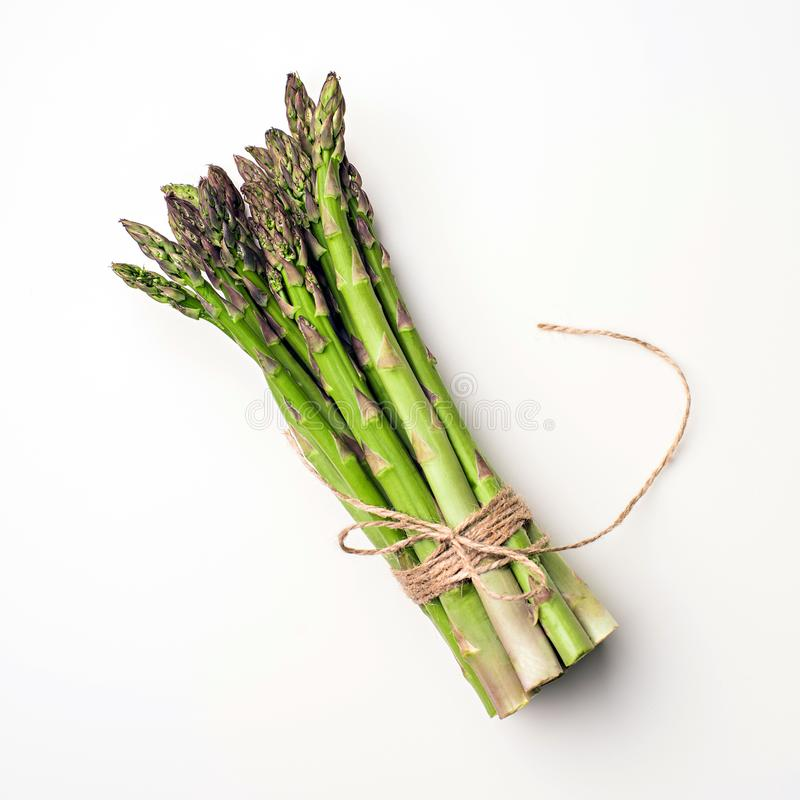 Texture of fresh green asparagus, top view. royalty free stock photography