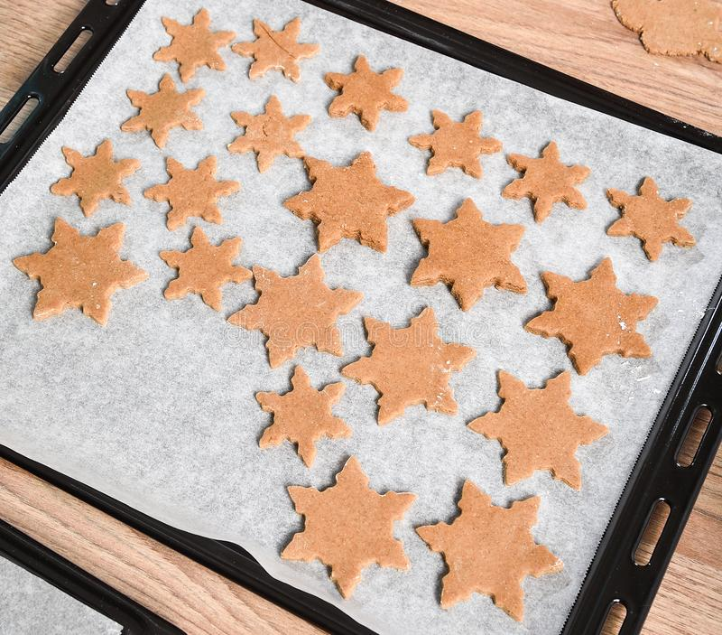 Texture of freshly baked homemade gingerbread start cookies. royalty free stock image