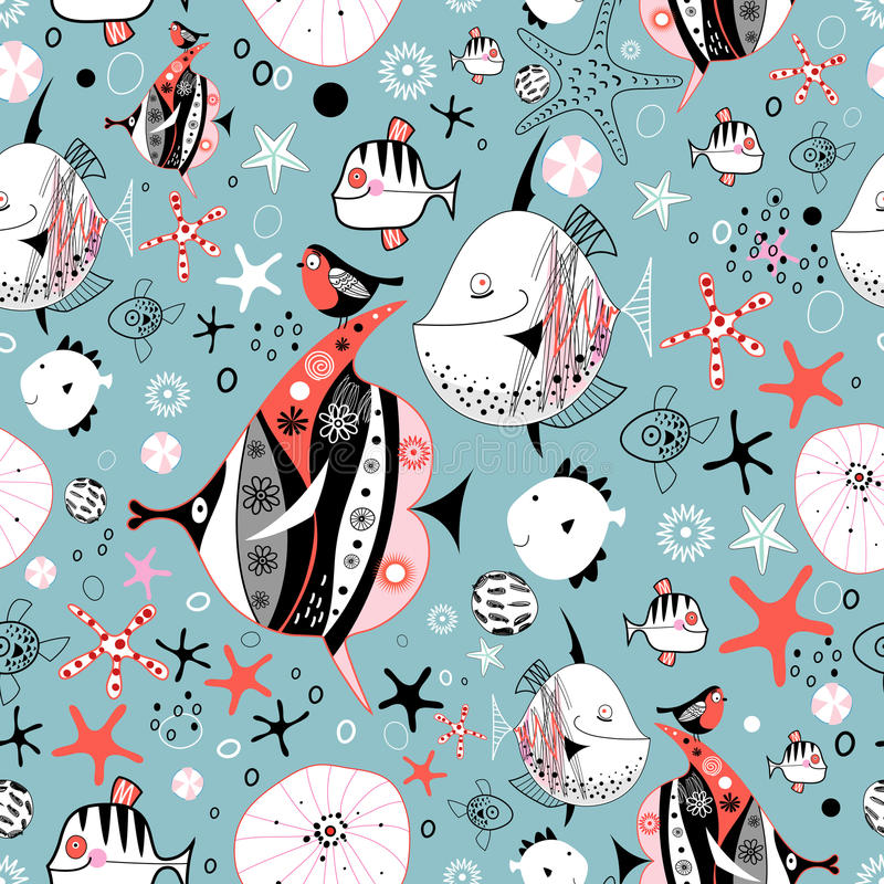 Texture of the fun fish. Marine seamless pattern of funny fish on a blue background with stars vector illustration