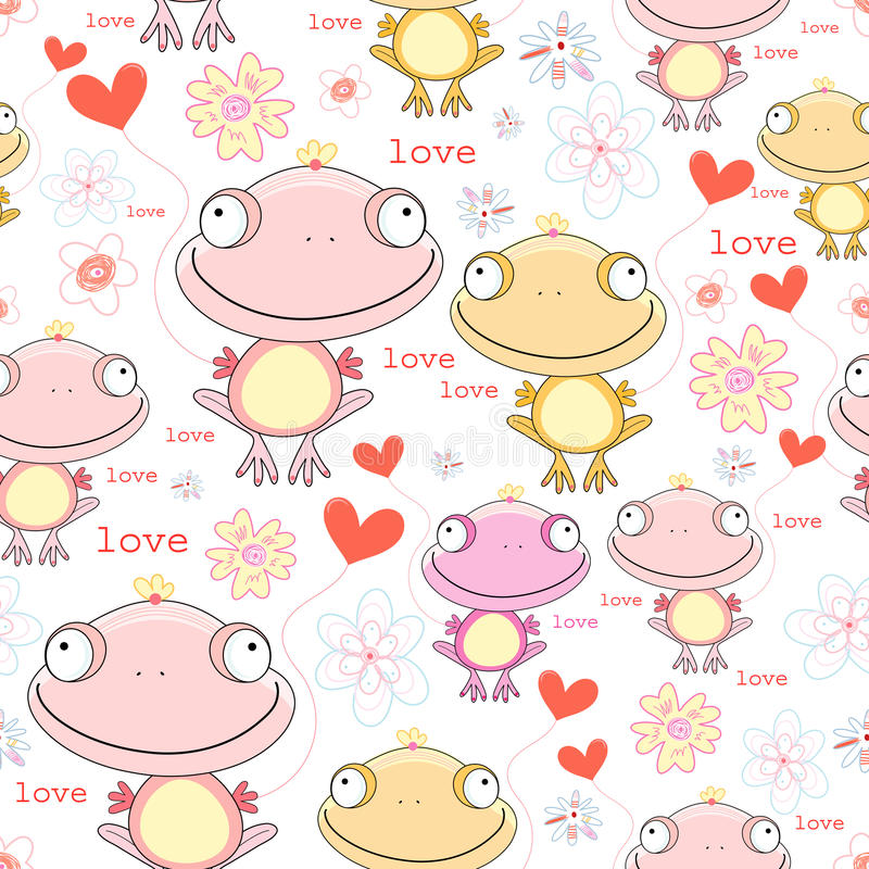 Texture of the fun love frogs vector illustration