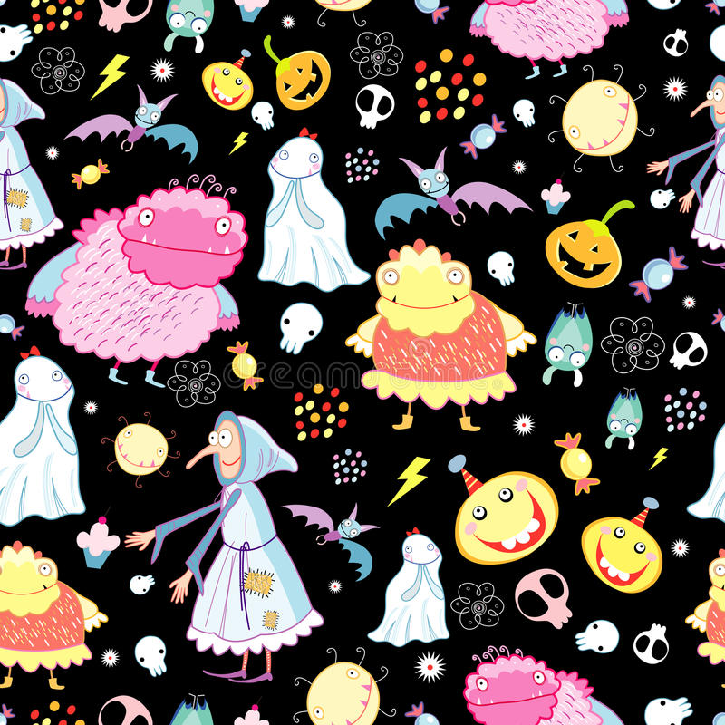 Texture of the fun of monsters and skulls. Seamless pattern of the fun of monsters and skulls on a black background royalty free illustration