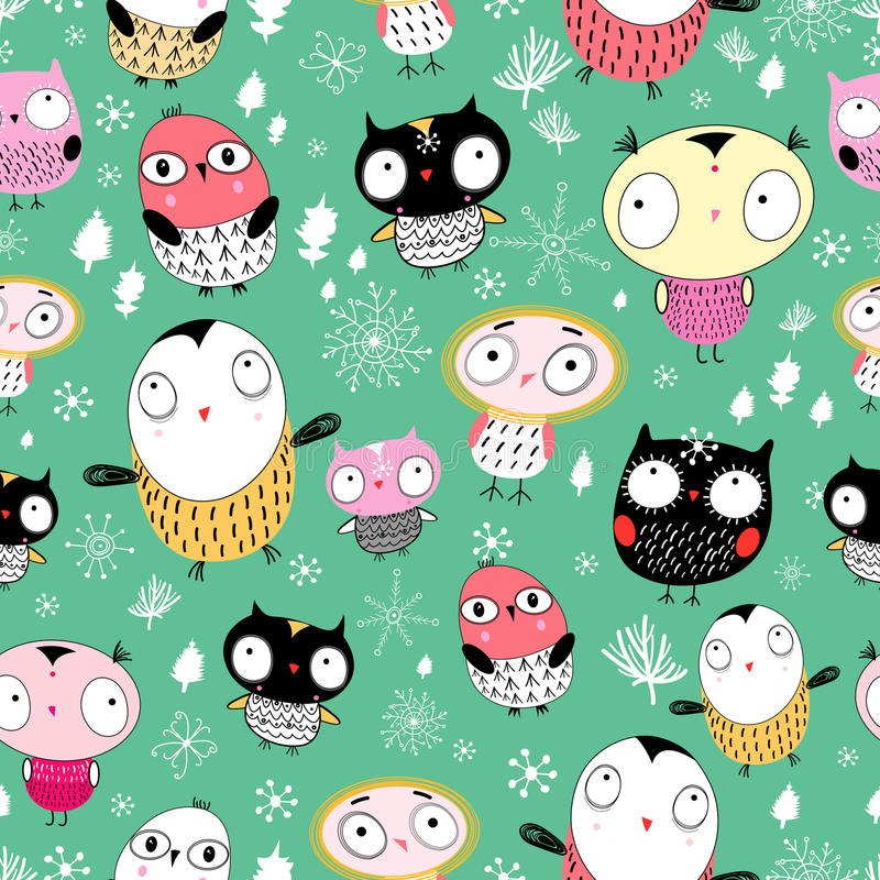 Texture of the fun owl. Seamless pattern of the fun colored owls on a green background with trees and snowflakes stock illustration