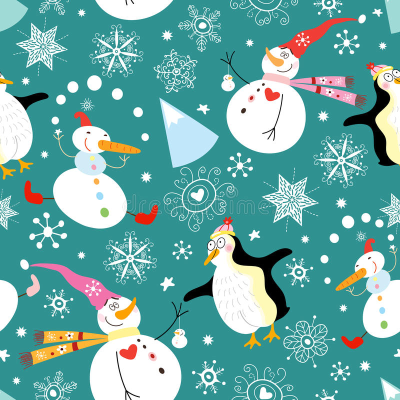 Free Texture Funny Snowmen And Penguins Royalty Free Stock Photos - 15928388
