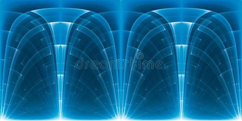 Texture futuriste rougeoyante de panorama d'unité centrale de traitement de bleu pour VR illustration stock