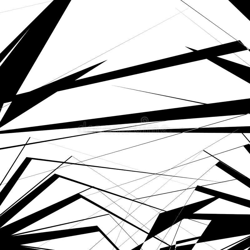 Texture géométrique avec des formes angulaires aléatoires Art monochrome illustration stock
