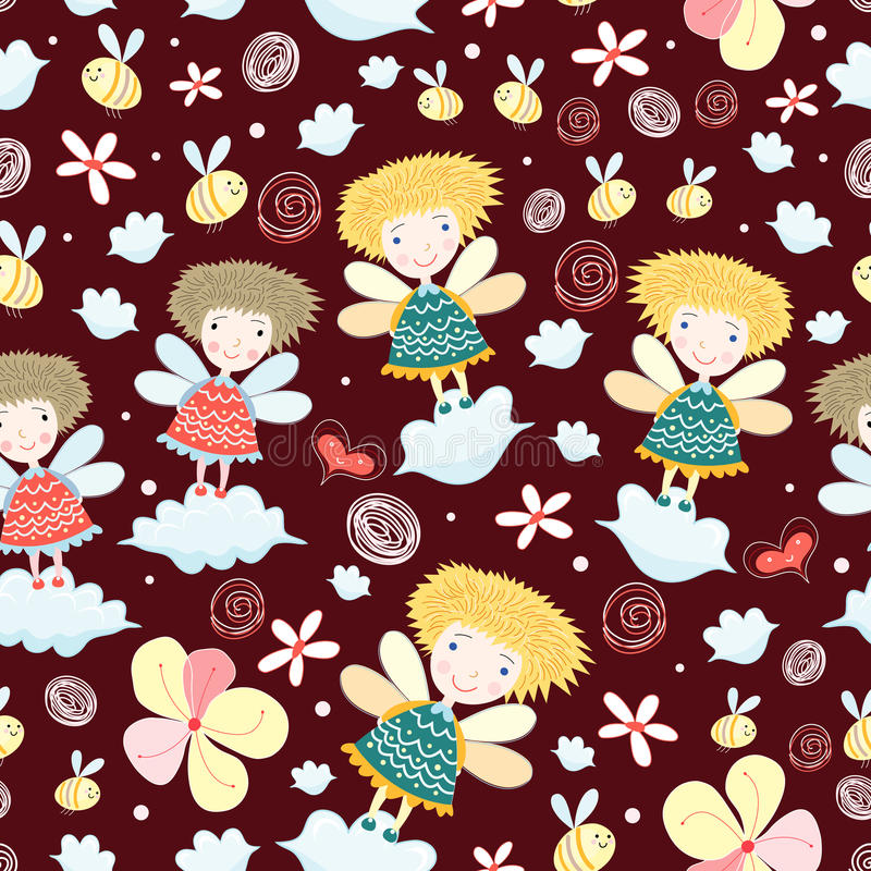 Download Texture With The Girls In The Clouds Stock Vector - Image: 19112599