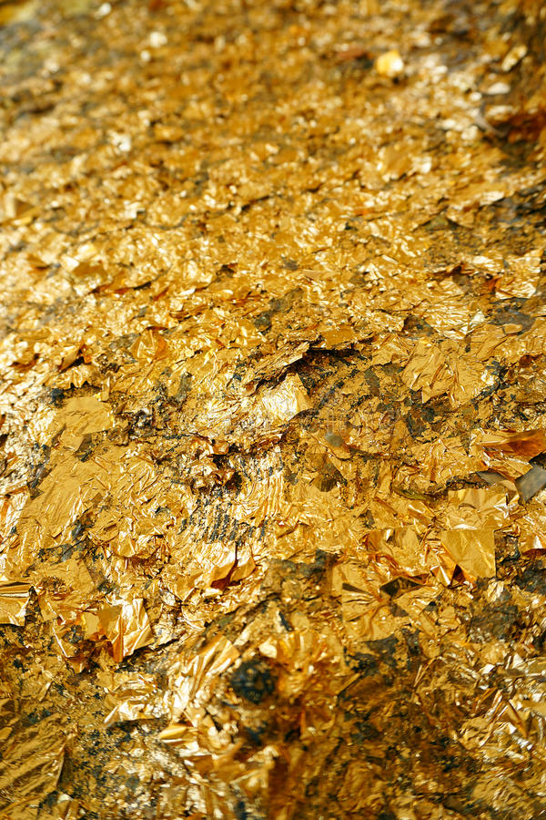 Texture of the gold leaf, Gold background, from Buddha stock images