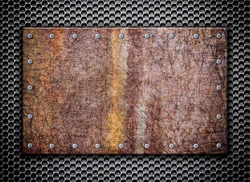 Texture a grade oxidada no fundo, 3d do metal, ilustração ilustração stock