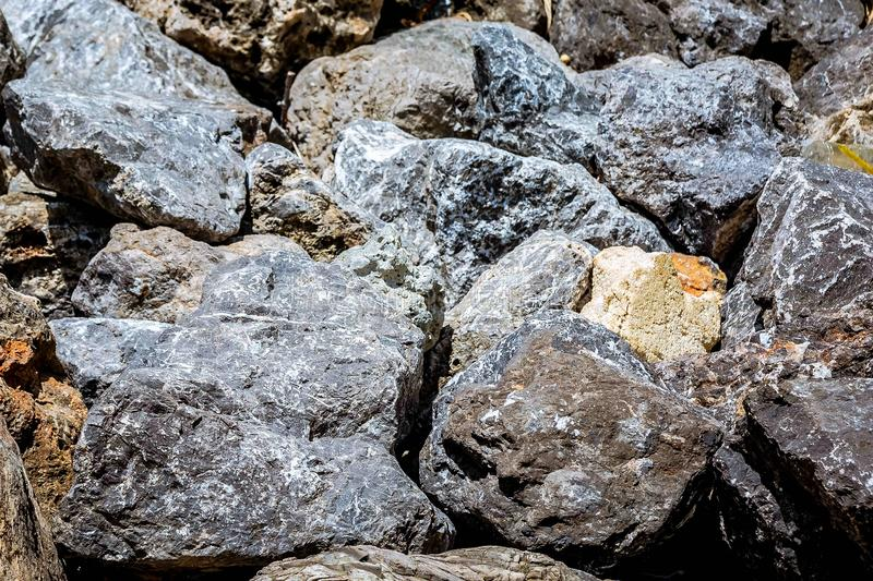 Texture. Gray Big stones. Close up of rocks on the beach stock image