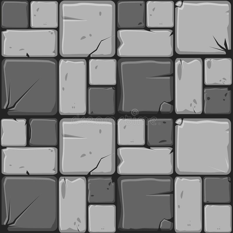 Texture of gray stone tiles, seamless background stone wall. Vector illustration for user interface of the game element. Texture of gray stone tiles, seamless royalty free illustration