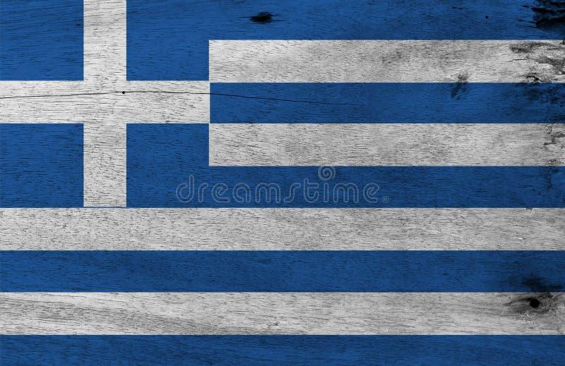 Texture grecque grunge de drapeau, neuf rayures de bleu et de blanc ; une croix blanche sur une place bleue illustration libre de droits