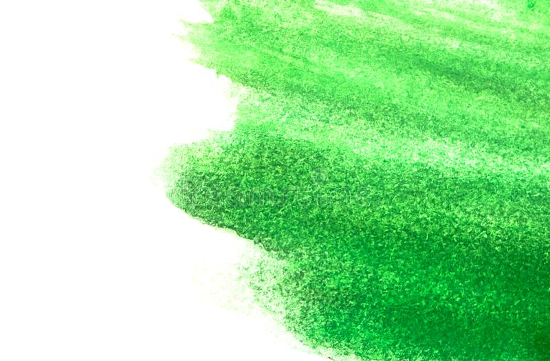 Texture of green watercolor paint on white paper. Horizontal watercolour background royalty free stock photos