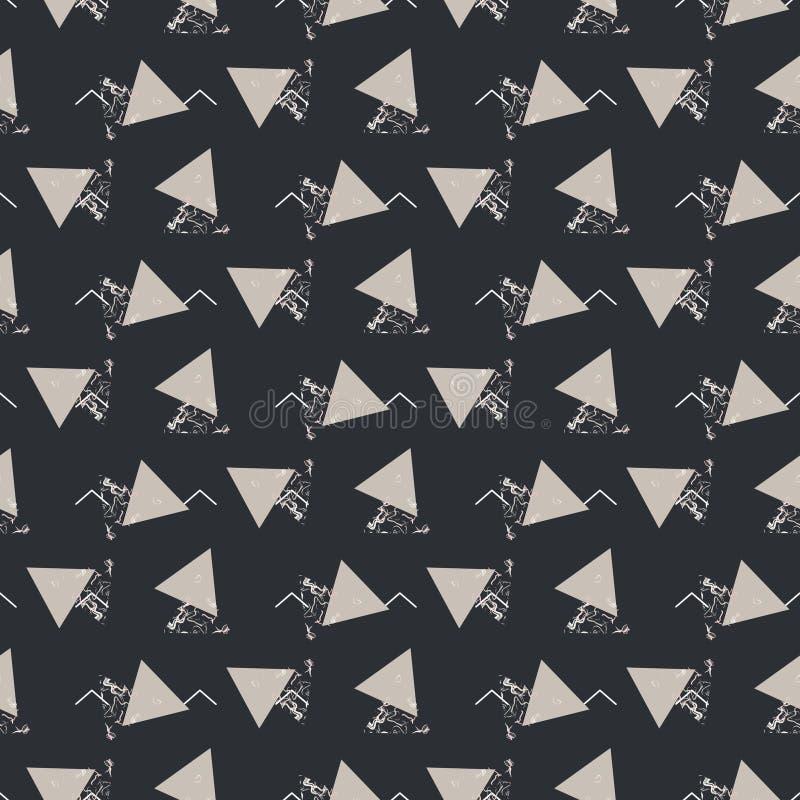 Texture gris-foncé sans couture de vecteur de triangle abstraite géométrique illustration stock