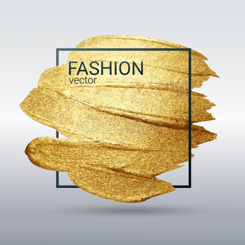 Texture grunge d'or dans un cadre Calomnie avec une brosse artistique Un mod?le de f?te brillant illustration de vecteur