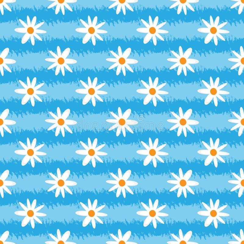 Texture grunge rayée avec des fleurs Courses de brosse, marguerite abstraite Configuration sans joint illustration libre de droits
