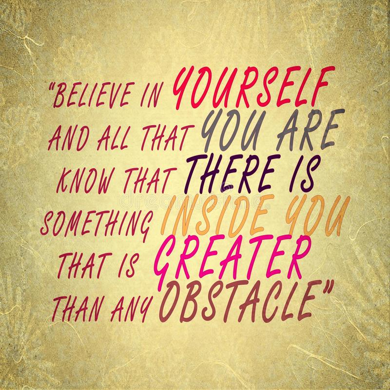 Believe in Yourself - Succeed overcome obstacles - self confidence royalty free stock photography