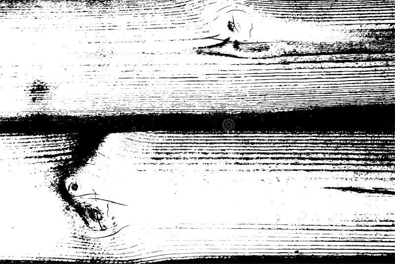 Texture grunge tramée affligée de vecteur - vieux fond en bois d'éraflure Illustration noire et blanche de vecteur pour la poussi illustration libre de droits