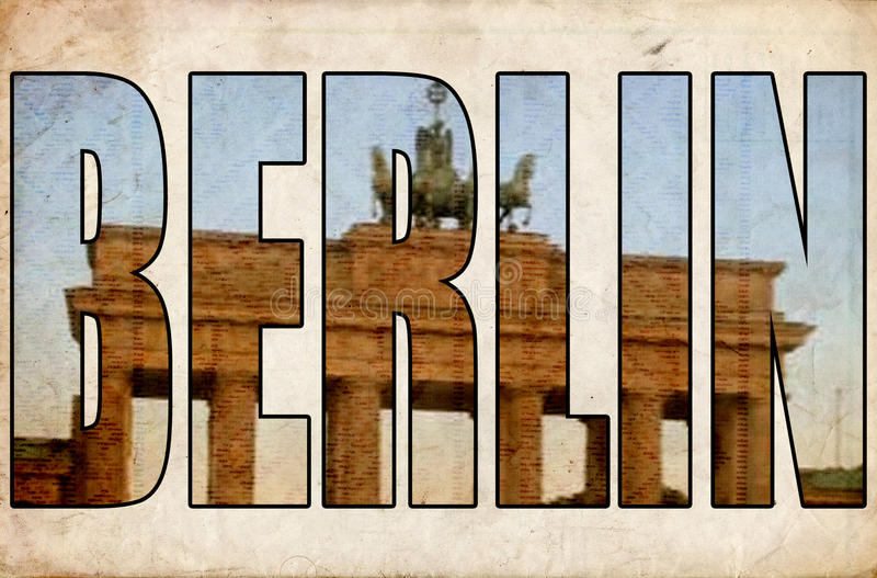 Texture grunge vintage Berlin 3d text Brandenburg gate. Brandenburger tor through Berlin the capital of Germany map in words text cloud with larger cities royalty free illustration