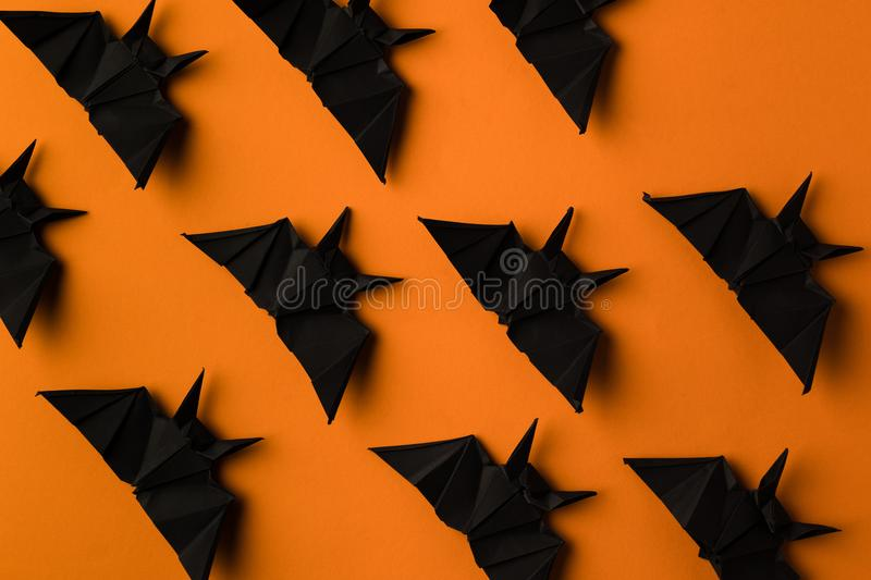 Texture with halloween origami bats stock photography