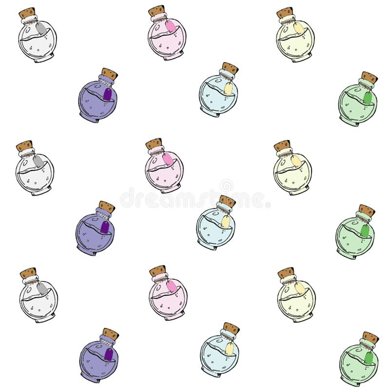Texture with hand-drawn colored bottles with different potions. stock illustration