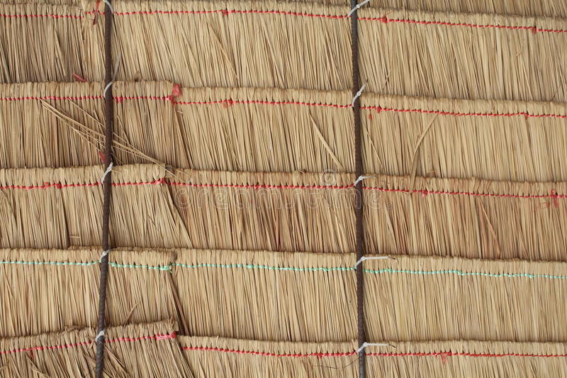 Texture of hay stack roof and bamboo in Thailand. closeup Useful as background for design-works. royalty free stock images
