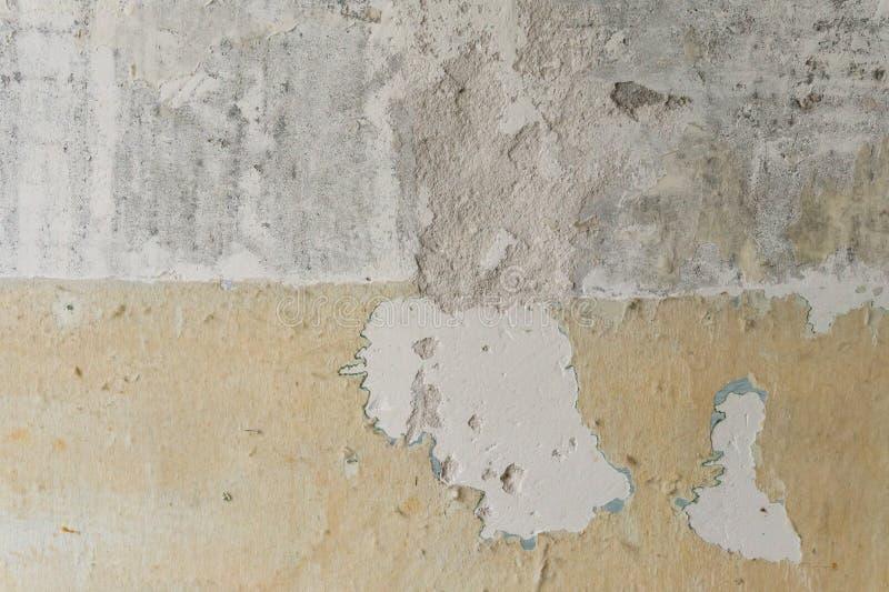 texture horizontal des panneaux de pin inextricable Mur sale Mur en béton Mur non peint image stock