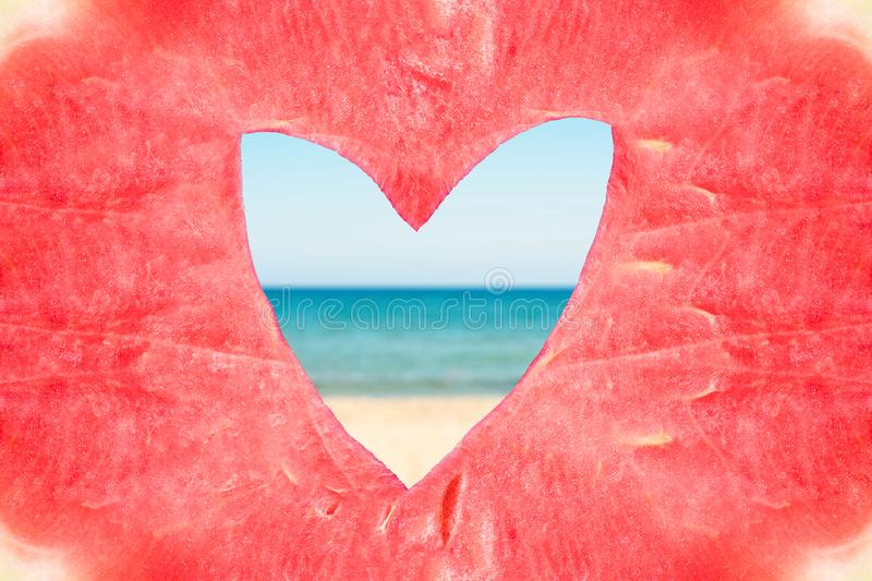Texture of the huge ripe piece of watermelon with heart shape hole on the sea background. Texture of the huge ripe piece of watermelon with heart shape hole on stock image