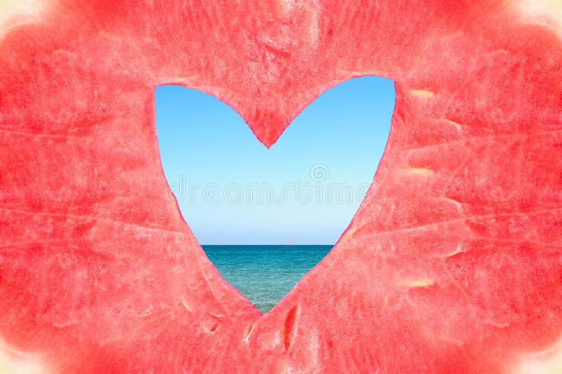 Texture of the huge ripe piece of watermelon with heart shape hole on the sea background. Texture of the huge ripe piece of watermelon with heart shape hole on royalty free stock photos