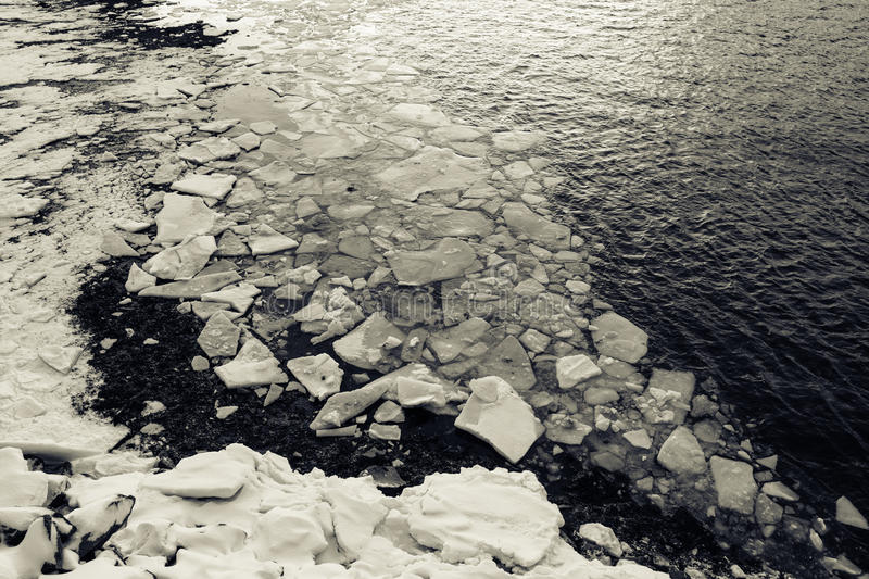 Texture of ice and water of Barents Sea in Teriberka, Murmansk Region, Russia royalty free stock images